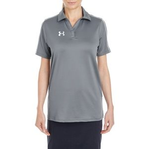 New Women's Under Armour Tech Polo Gray White XL
